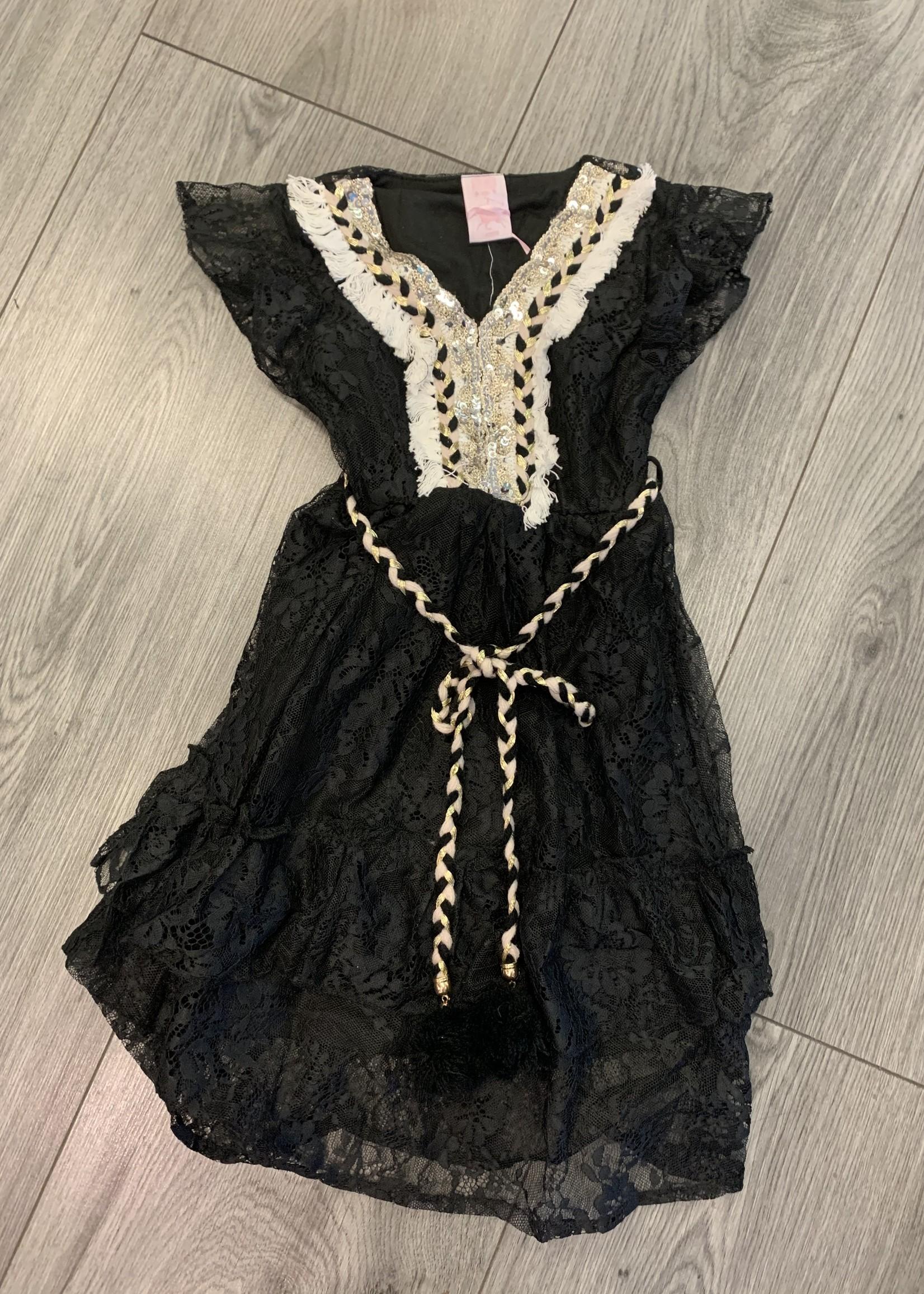 Zero Divanis ibiza dress met pailletjes zwart