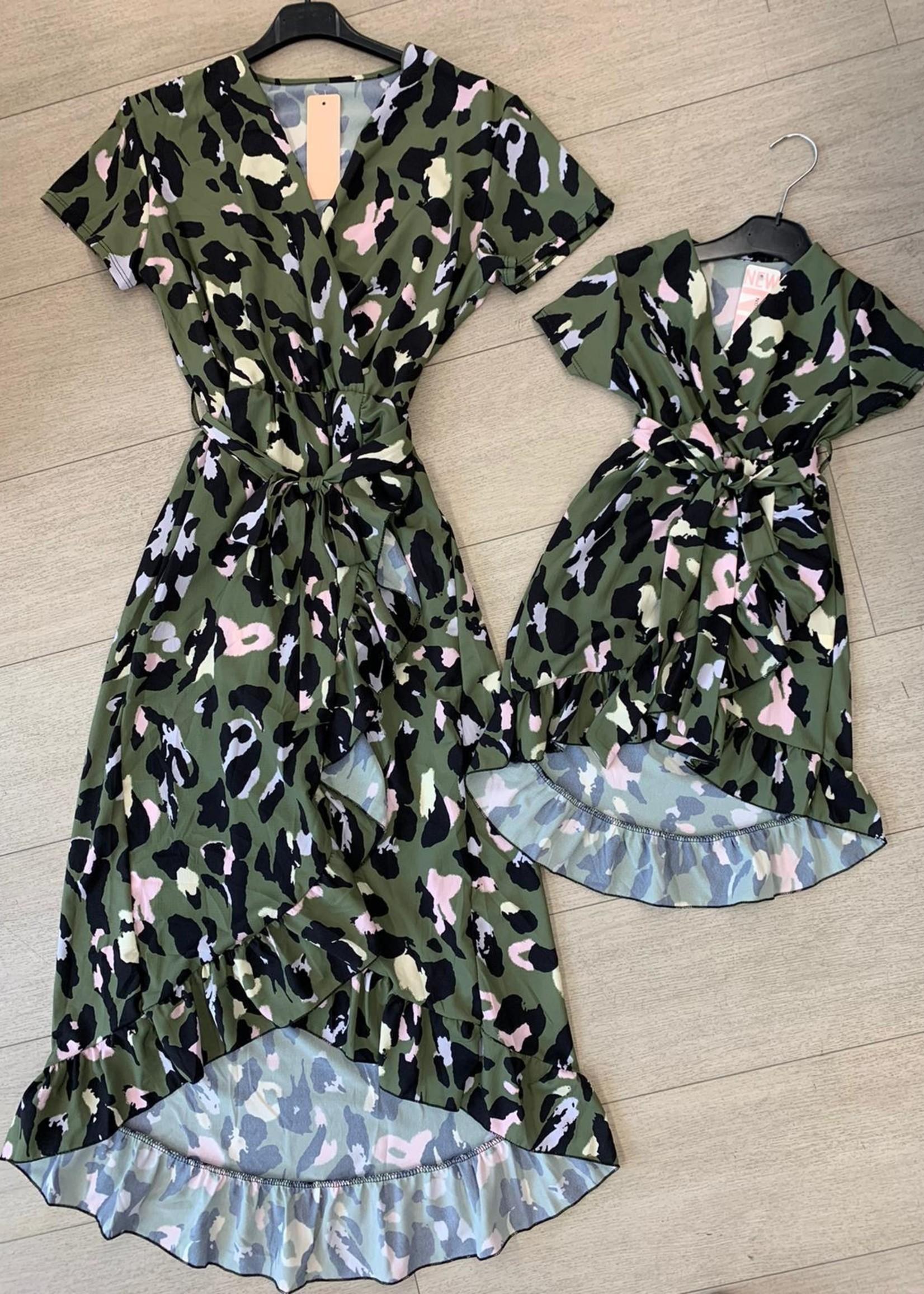 Divanis Divanis dochter groene panterprint dress