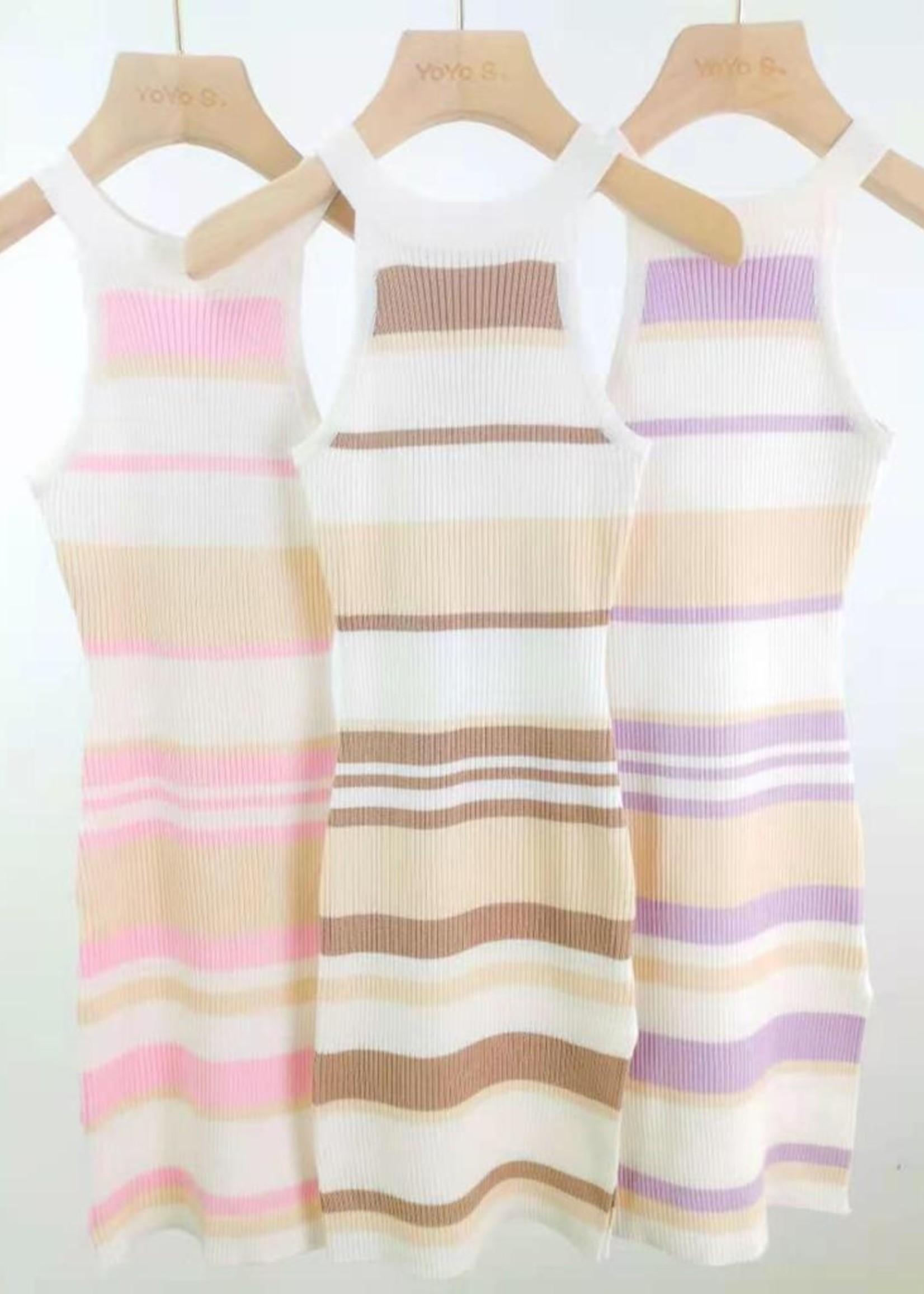 Divanis Divanis striped halter dress brown