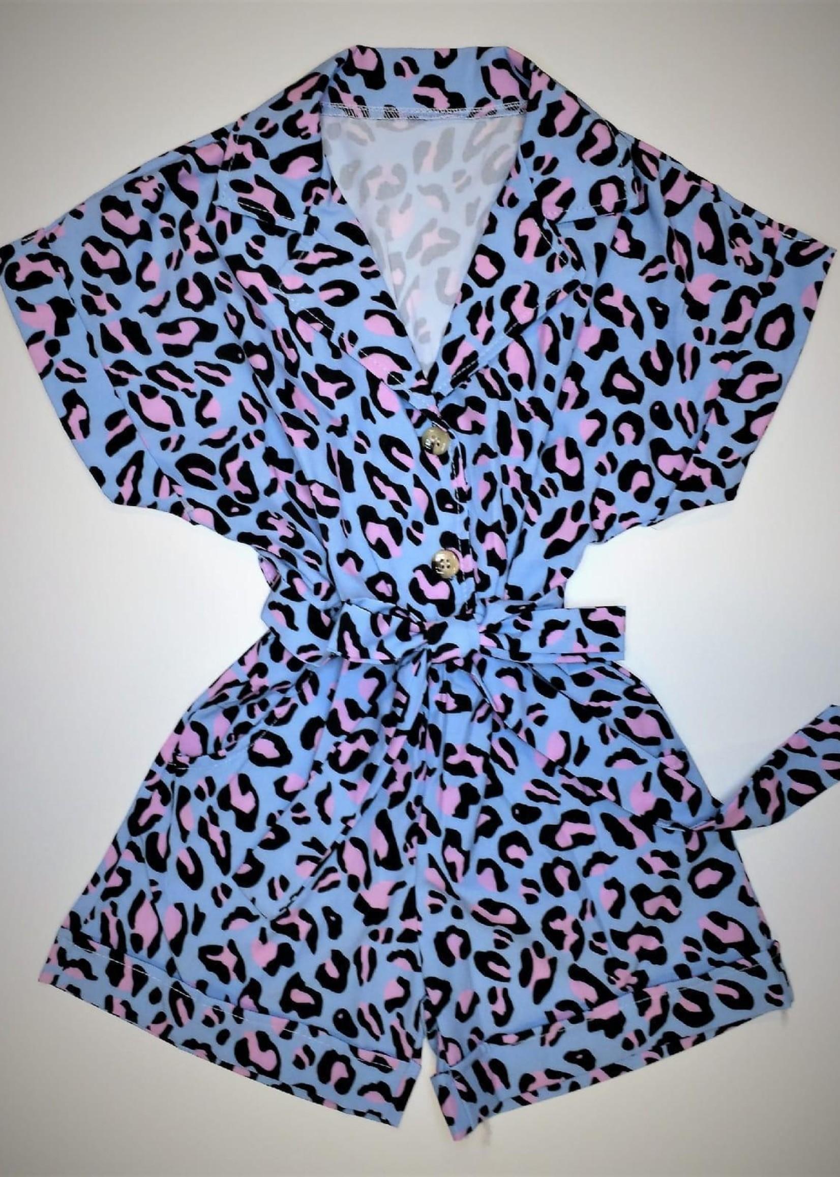 Divanis Divanis panter jumpsuit blauw