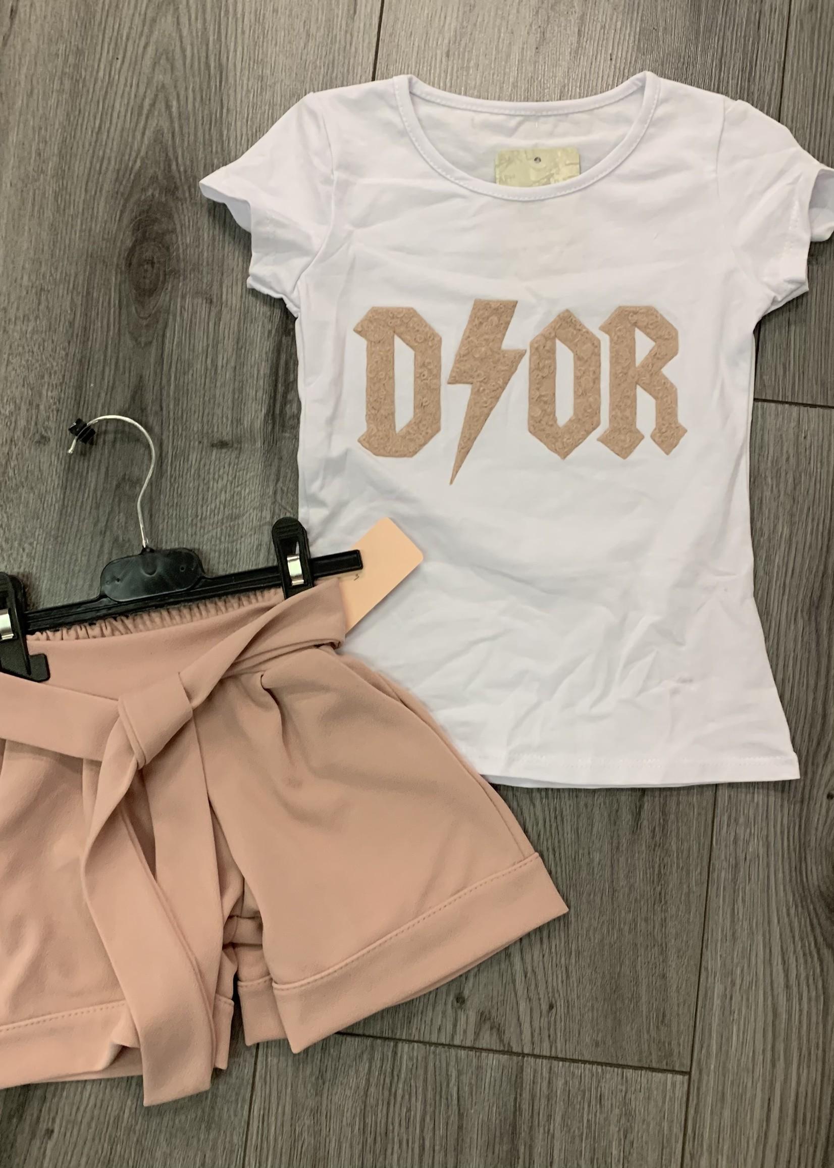 Divanis Divanis dior tshirt zalmkleur letters