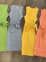Divanis Divanis knoop jurk geel