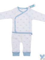 Very Important Baby 2delig setje all over print kroontje wit blauw