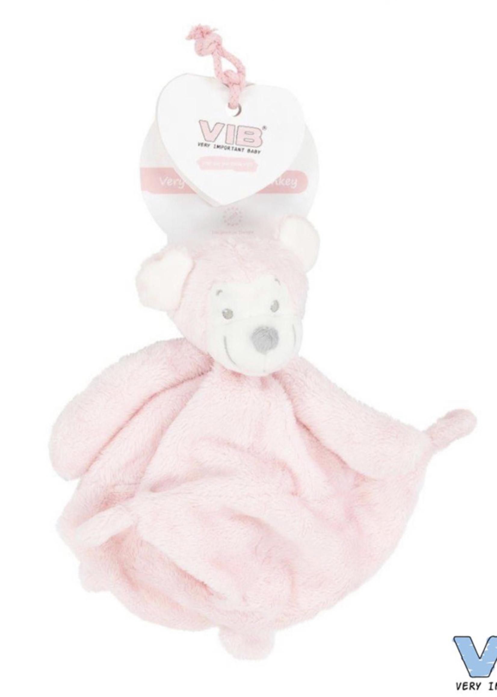 Very Important Baby Knuffeldoekje met Apenhoofd roze