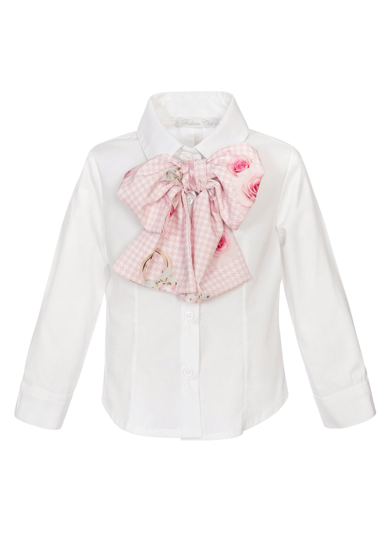 Balloon Chic Balloon Chic blouse wit met strik roze