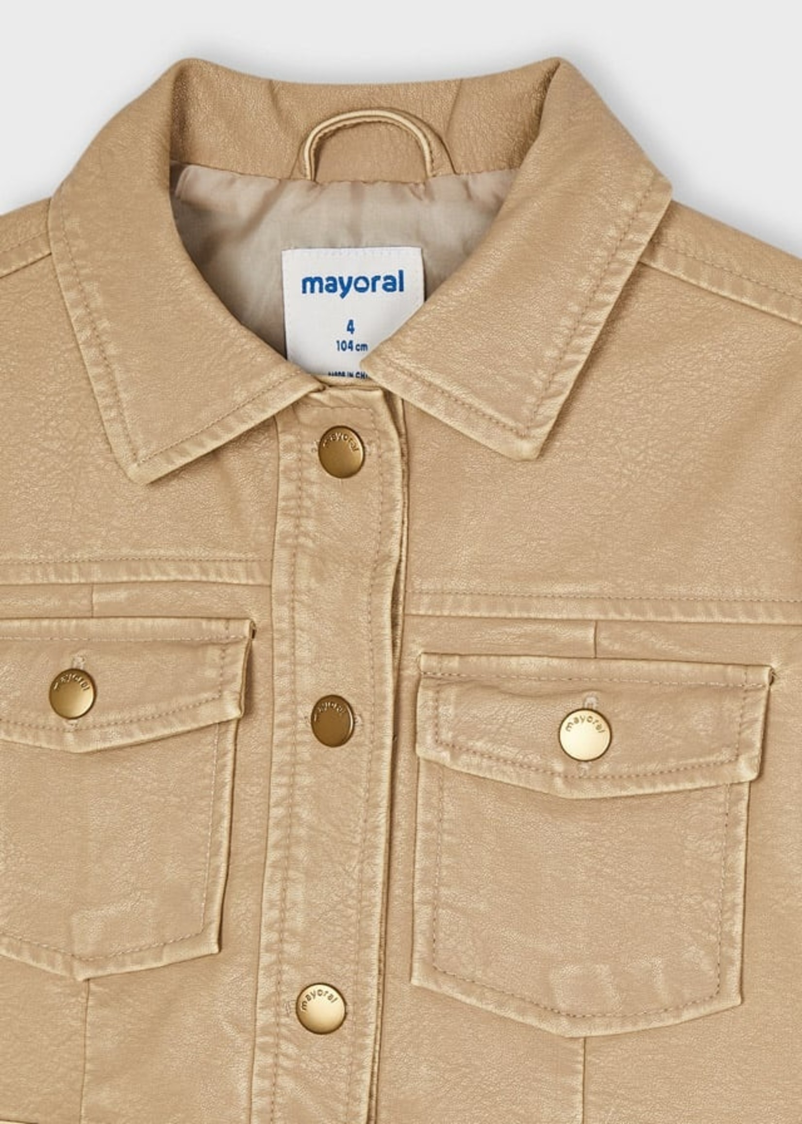 Mayoral Mayoral faux leather jacket for girl camel