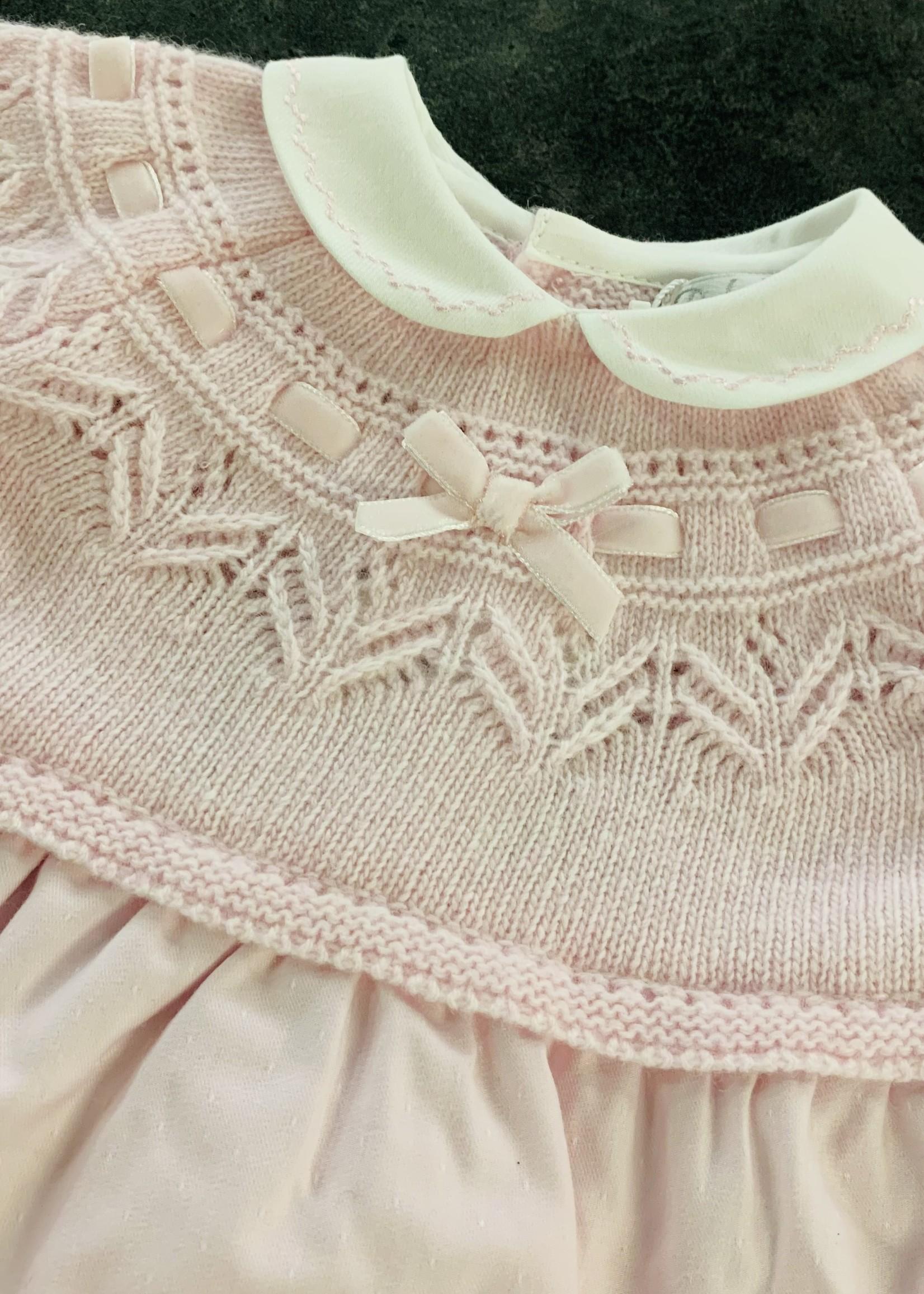 DrKid DrKid dress newborn wit kraagje roze