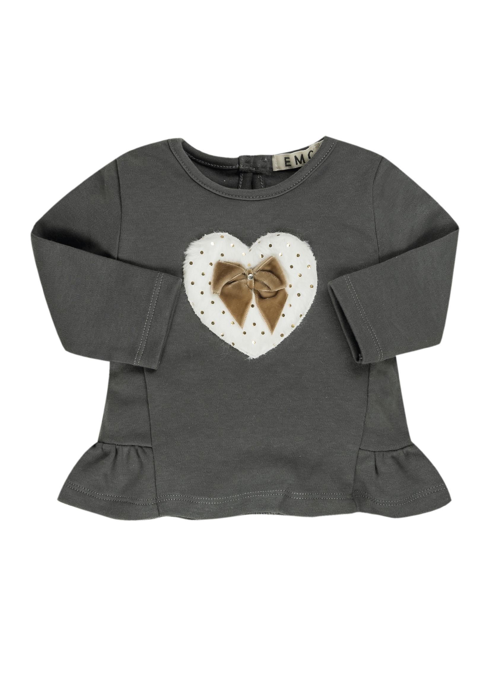 EMC EMC heart brown bow shirt