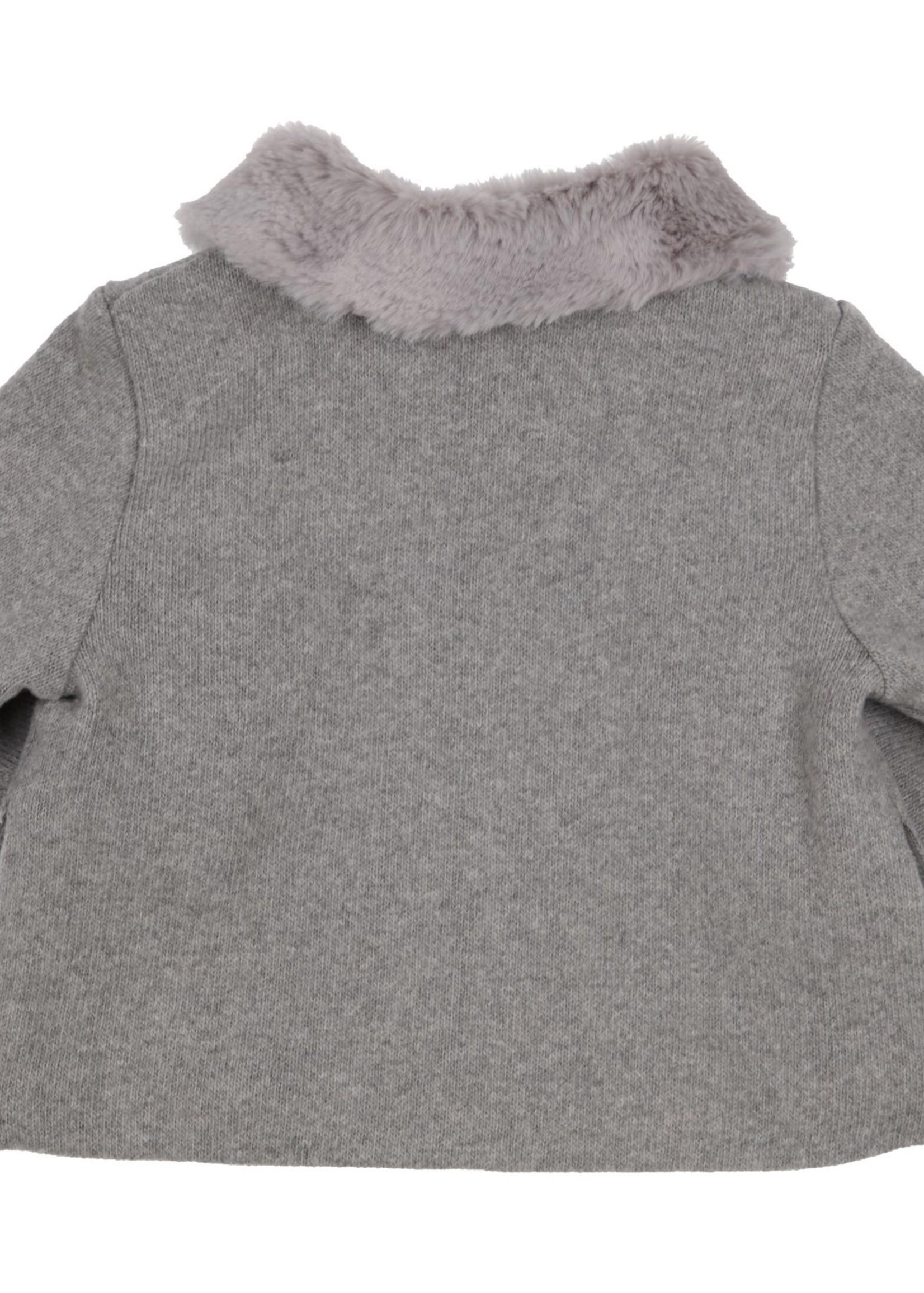 Gymp Gymp cardigan zipper combi (fake) fur grijs