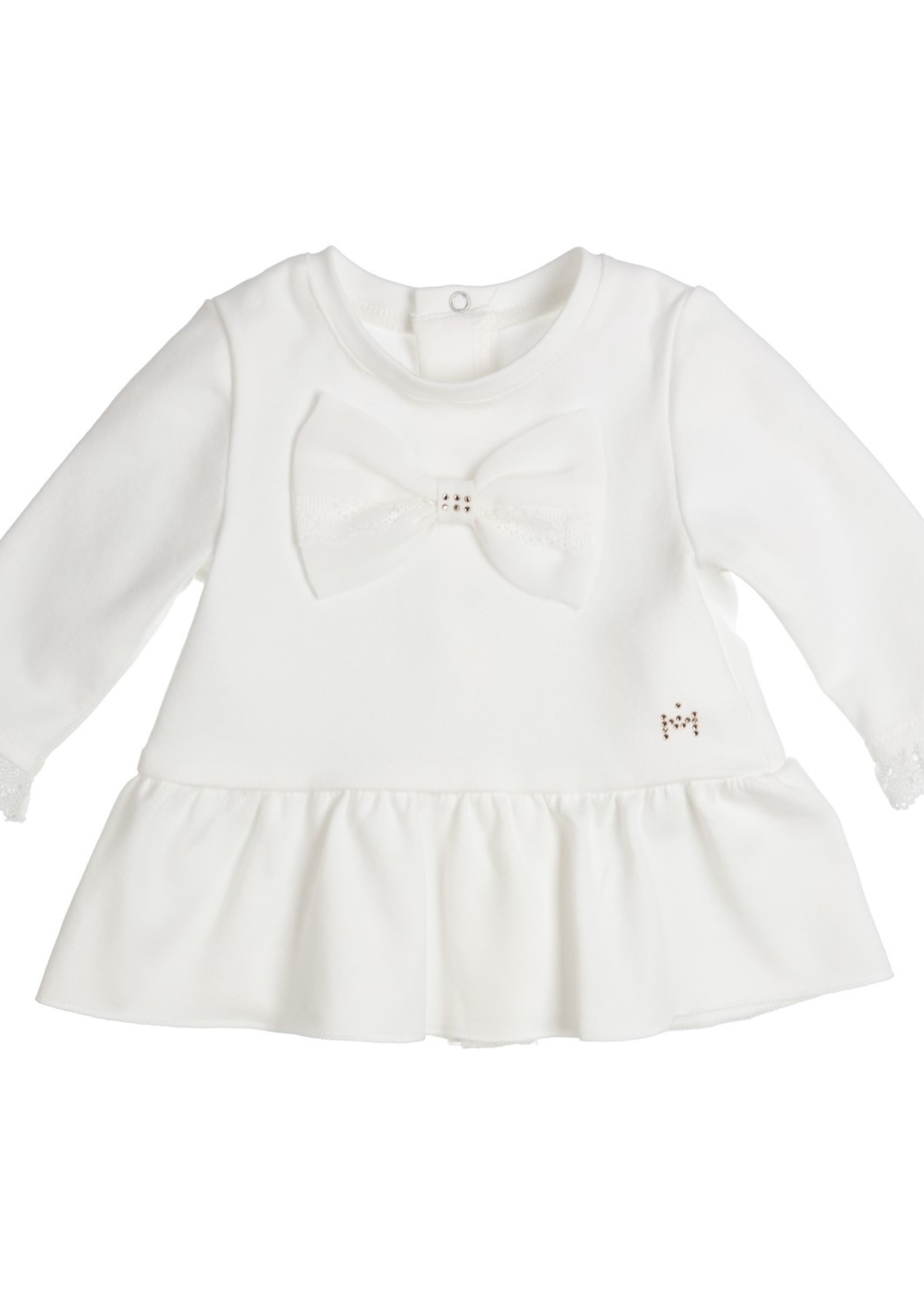 Gymp Gymp tunic with voile bow off-white