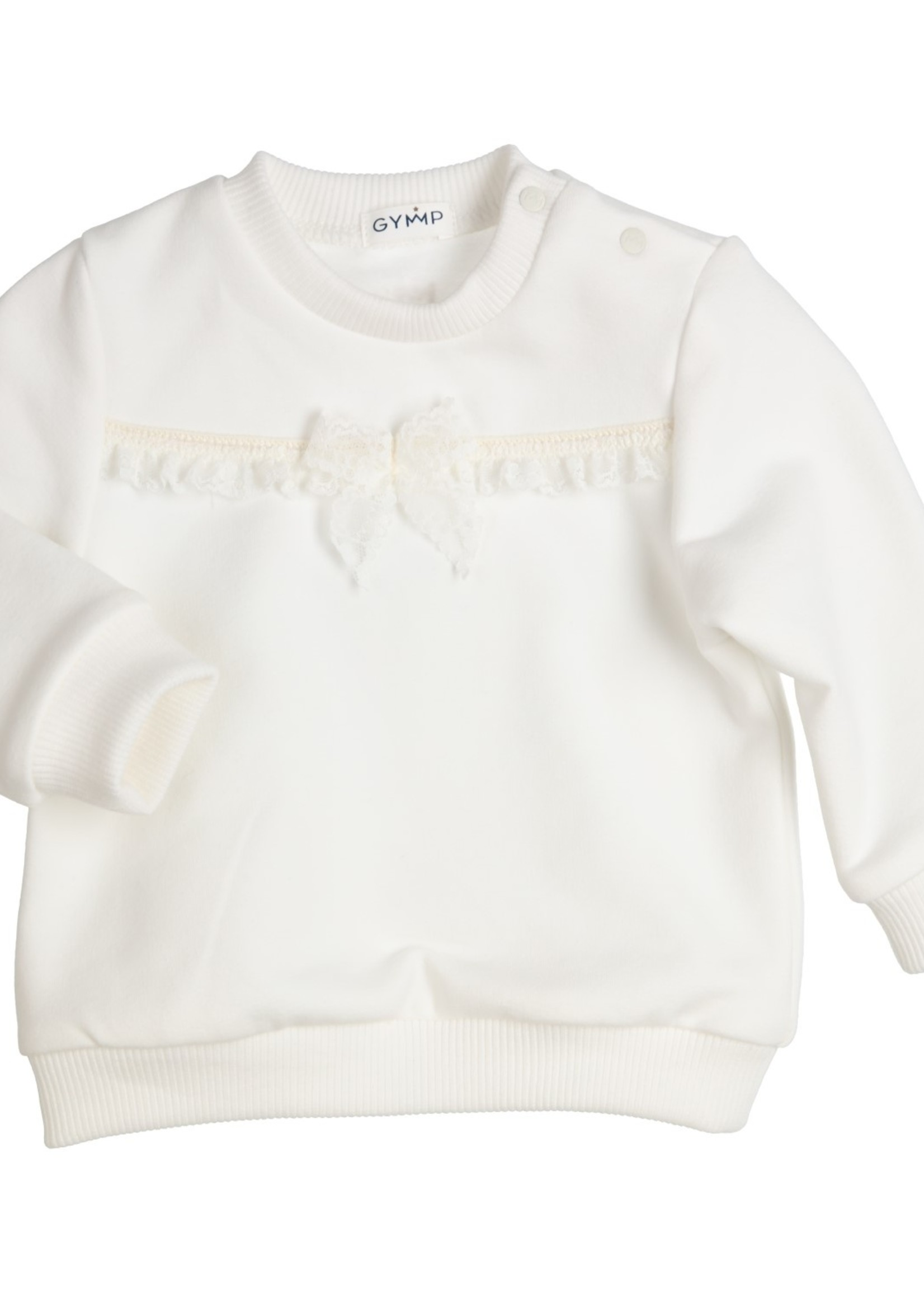Gymp Gymp sweater bow and lace ribbon off white