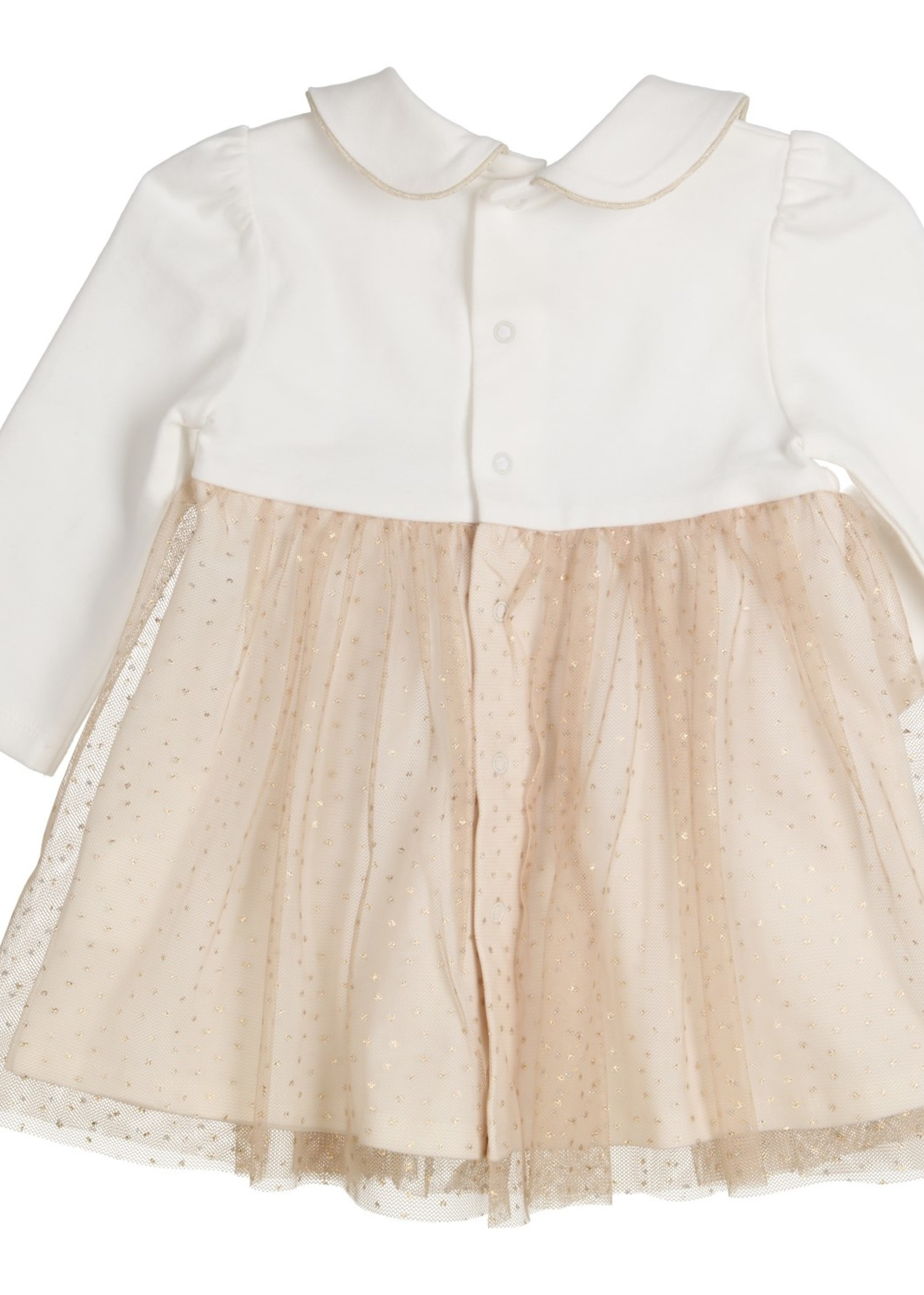 Gymp Gymp combi dress off white goud