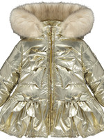 Little Adee Little Adee BARNEY Bow faux fur trim jacket gold