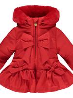 Little Adee Little Adee BELLA Bow faux fur trim jacket red