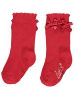 Little Adee Little Adee BEAU Frill knee high sock red