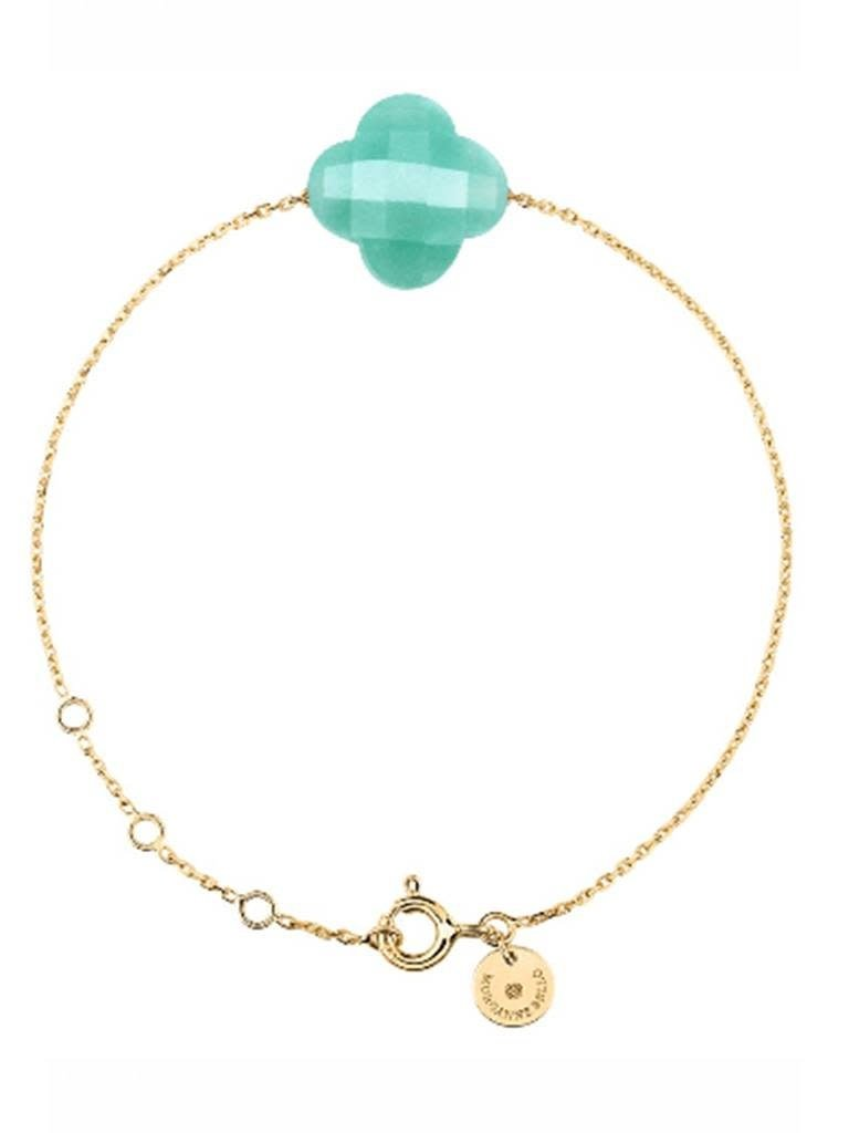 Morganne Bello Morganne Bello klaver armband turquoise goud
