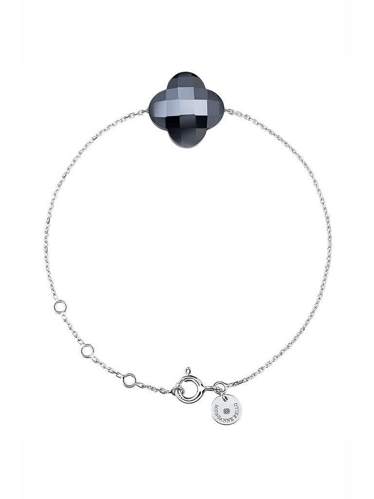 Morganne Bello Morganne Bello armband met hematiet steen witgoud