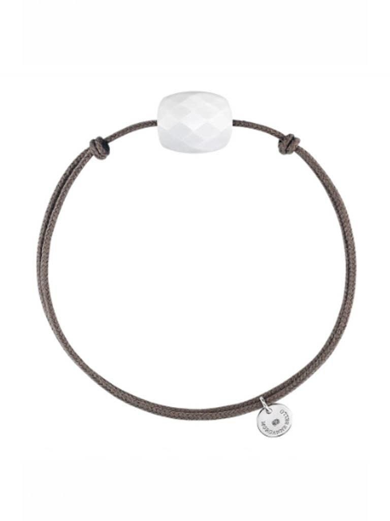 Morganne Bello Morganne Bello kussen koord armband wit taupe