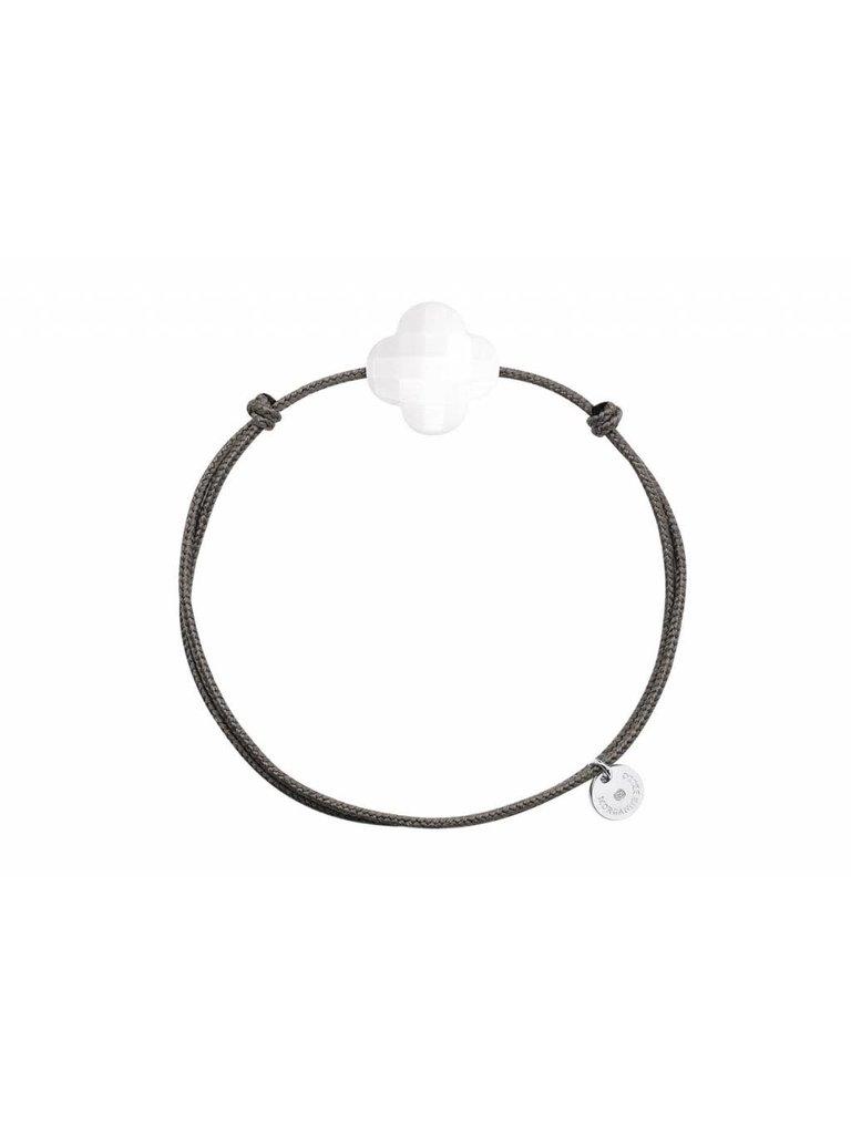 Morganne Bello Morganne Bello Koord armband met wit Agate