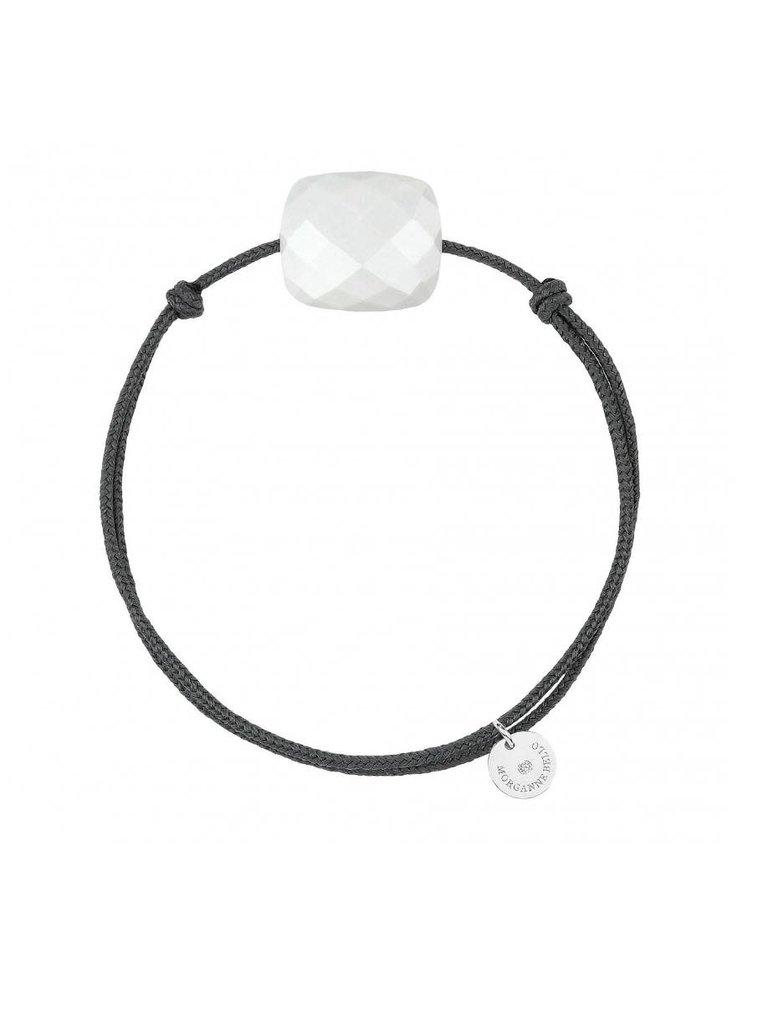 Morganne Bello Morganne Bello koord armband wit Agate