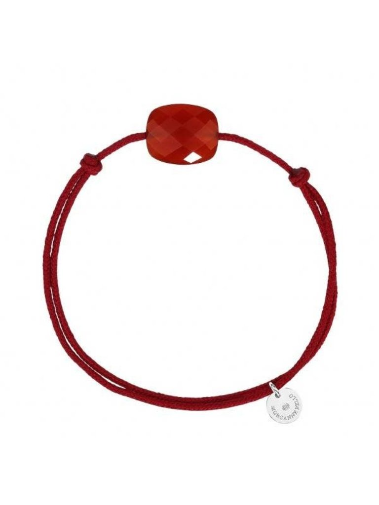 Morganne Bello Morganne Bello kussen koord armband Cornaline steen rood