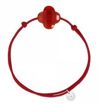 Morganne Bello Morganne Bello cord bracelet Cornaline clover stone red