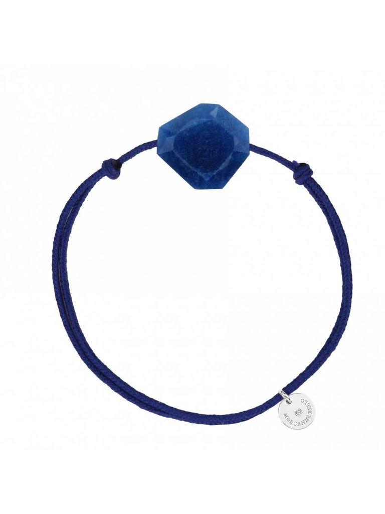 Morganne Bello Morganne Bello koord armband met quartz steen donkerblauw