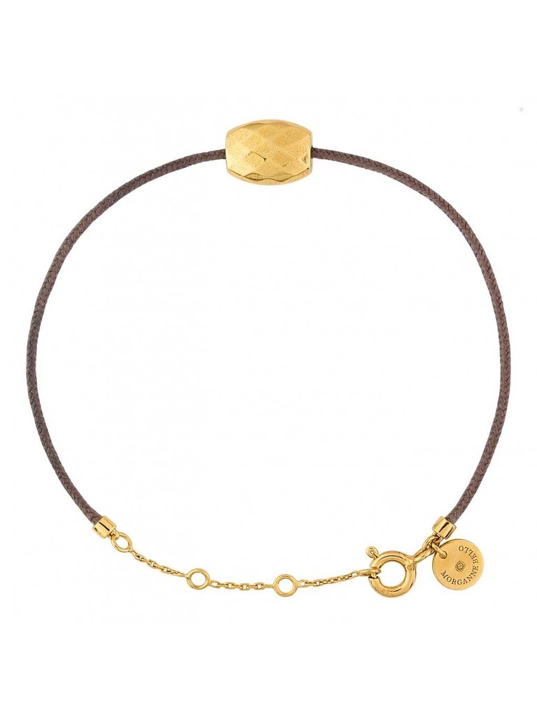 Morganne Bello Morganne Bello cord bracelet taupe with Cushion golden stone