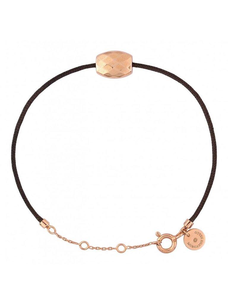 Morganne Bello Morganne Bello Pepite cord bracelet with cushion rose gold
