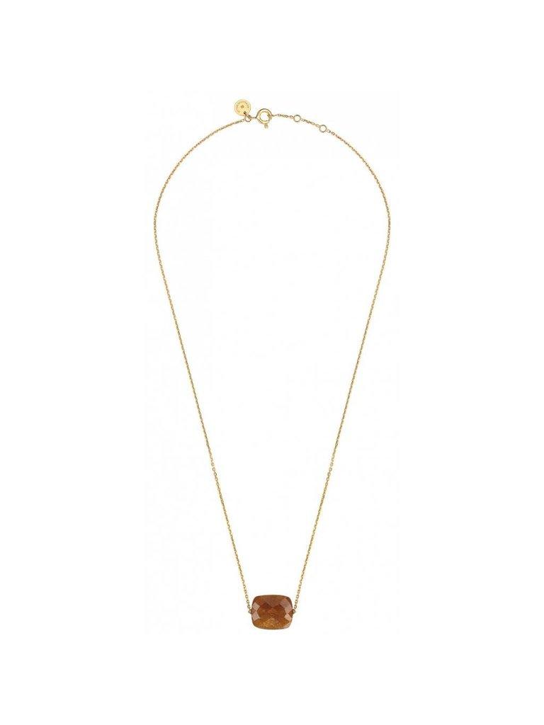 Morganne Bello Morganne Bello gouden ketting met sunstone steen