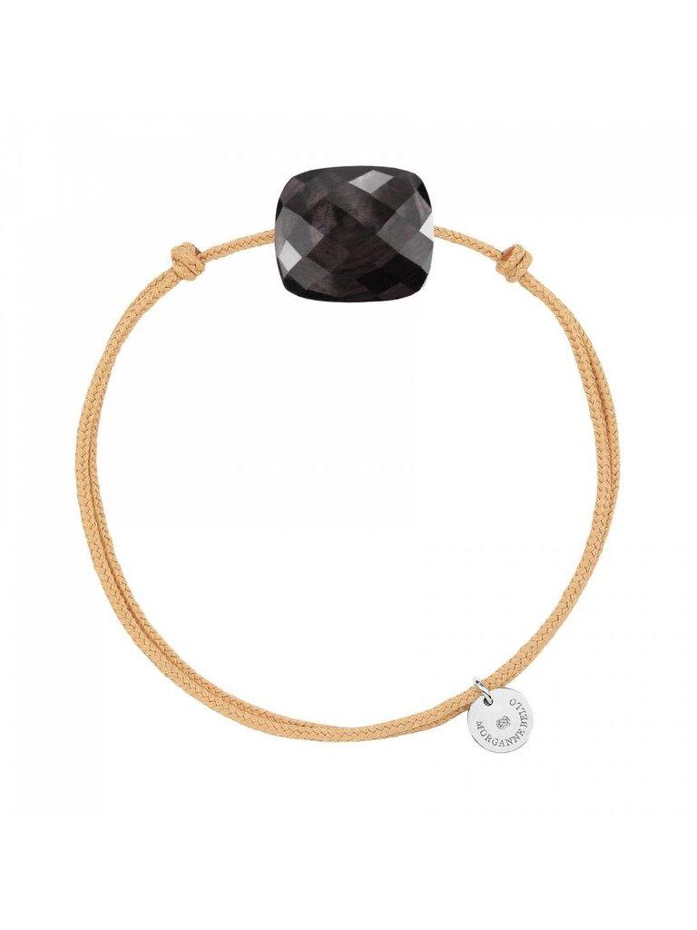 Morganne Bello Morganne Bello cord bracelet with Moonstone hiper stone beige