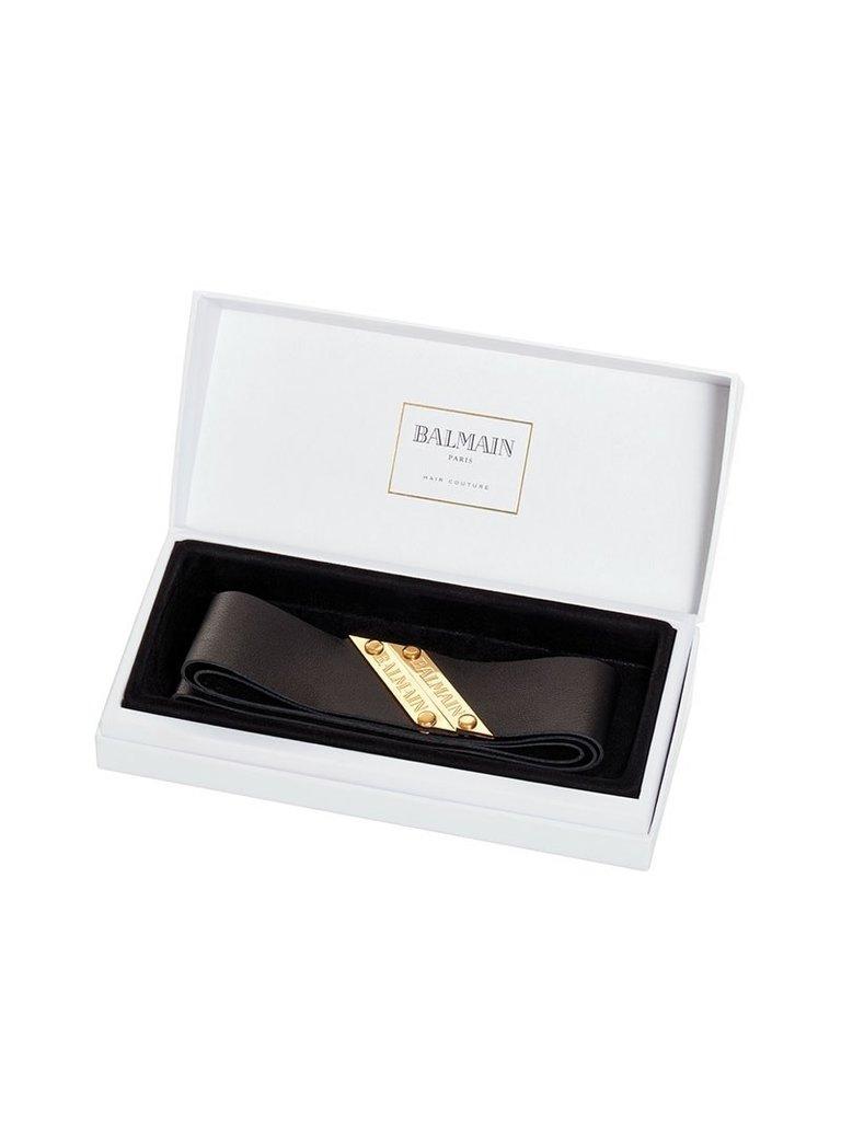 Balmain Hair Couture Balmain Hair Couture leren haarband zwart goud