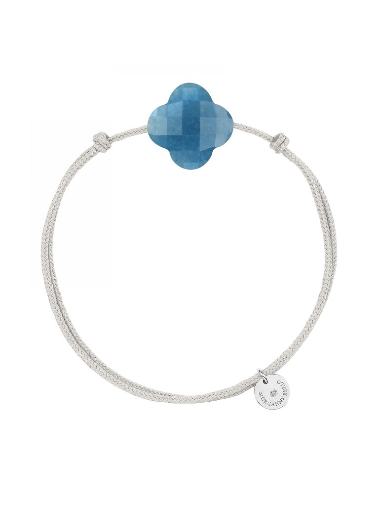 Morganne Bello Morganne Bello cord bracelet with blue quartz clover stone