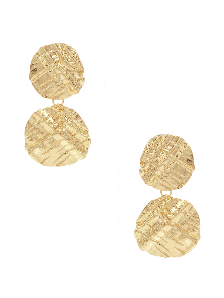 8 Other Reasons 8 Other Reasons x Jill Jacobs earrings with textured gold