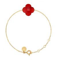 Morganne Bello Morganne Bello Klaver armband rood Cornaline goud