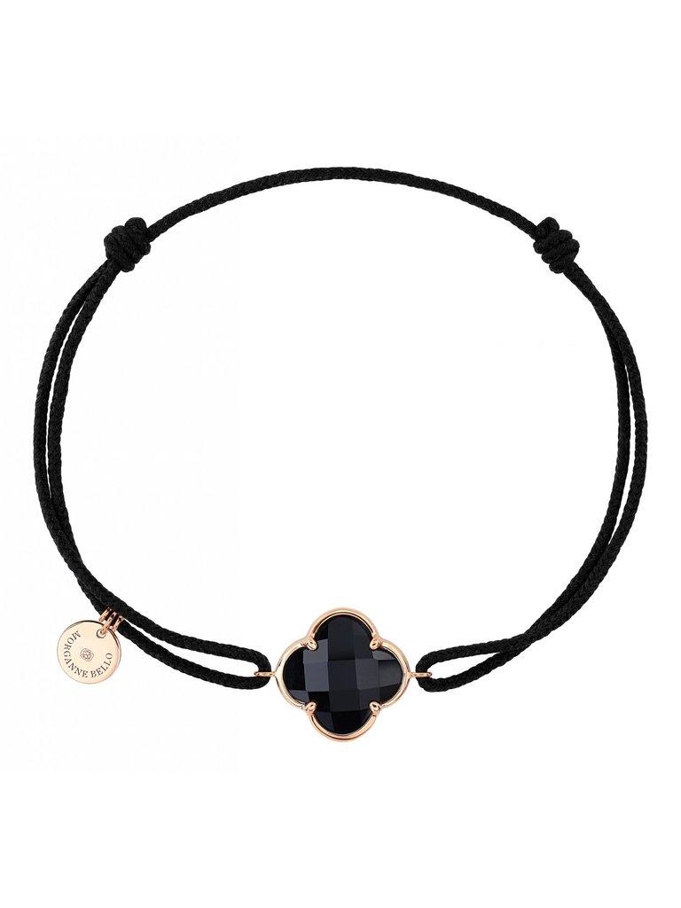 Morganne Bello Morganne Bello koord armband met Onyx  klaver steen geelgoud zwart