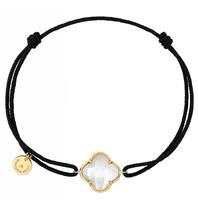Morganne Bello Morganne Bello koord armband met parelmoer klaver steen geelgoud zwart