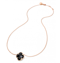 Morganne Bello Morganne Bello ketting met klaver steen onyx rosegoud