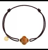 Morganne Bello Morganne Bello cord bracelet with tiger eye clover stone yellow gold black