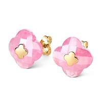 Morganne Bello Morganne Bello yellow gold earrings Rhodochrosit stone