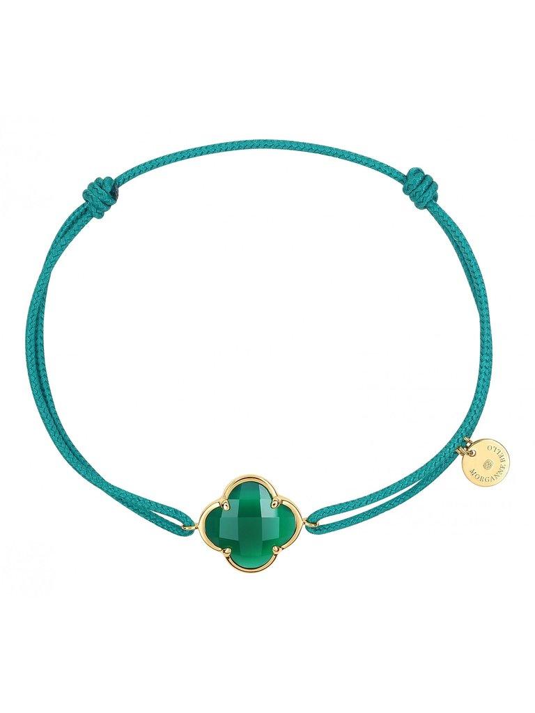 Morganne Bello Morganne Bello koord armband met agaat steen groen geelgoud