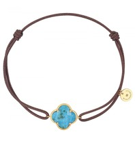 Morganne Bello Morganne Bello cord bracelet with stone turquoise yellow gold