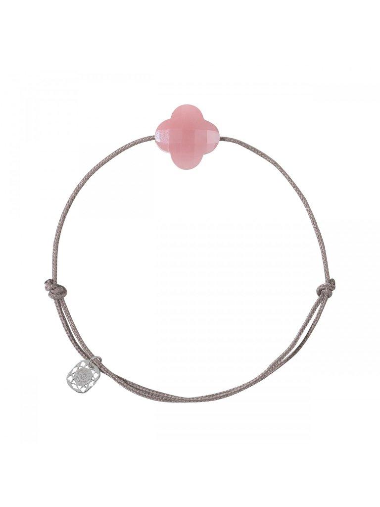 Morganne Bello Morganne Bello cord bracelet with guava clover stone taupe