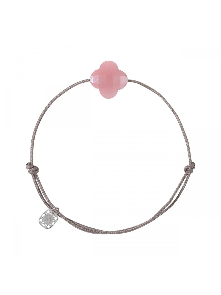 Morganne Bello Morganne Bello Klaver koord armband roze taupe