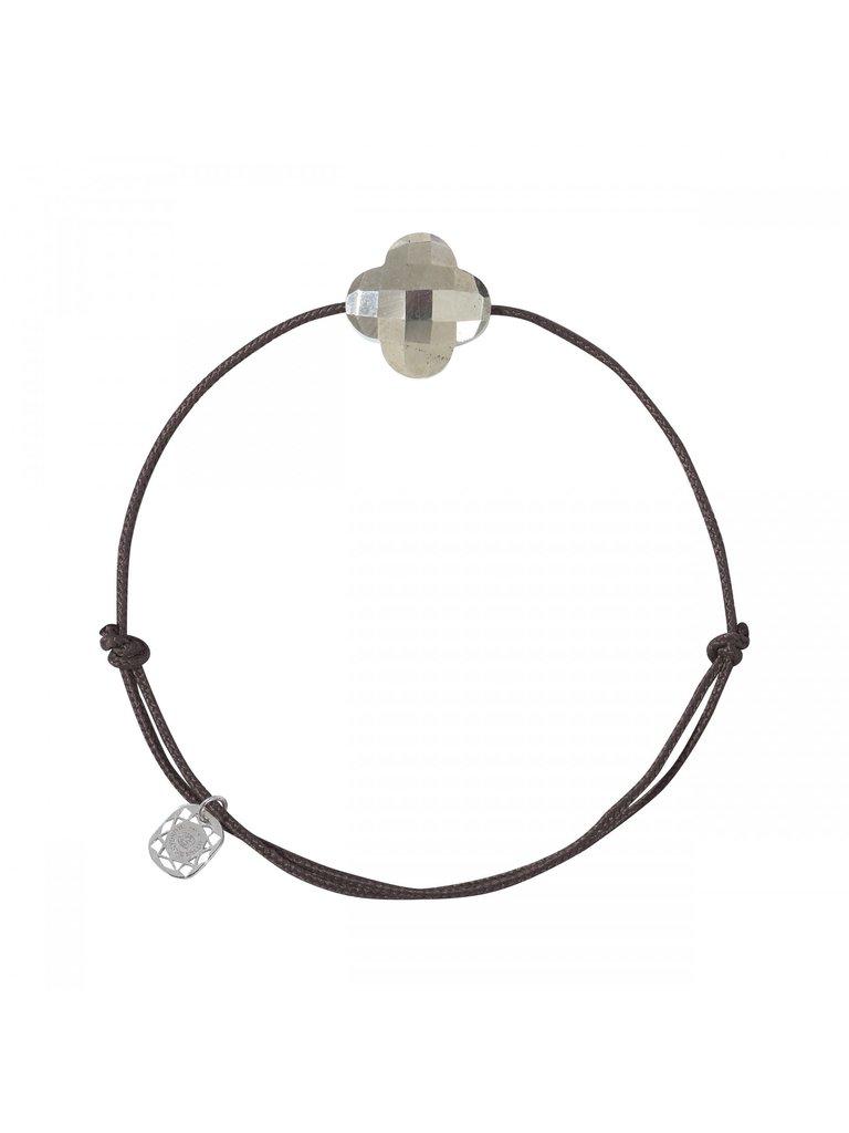 Morganne Bello Morganne Bello cord bracelet pyrite clover stone dark brown