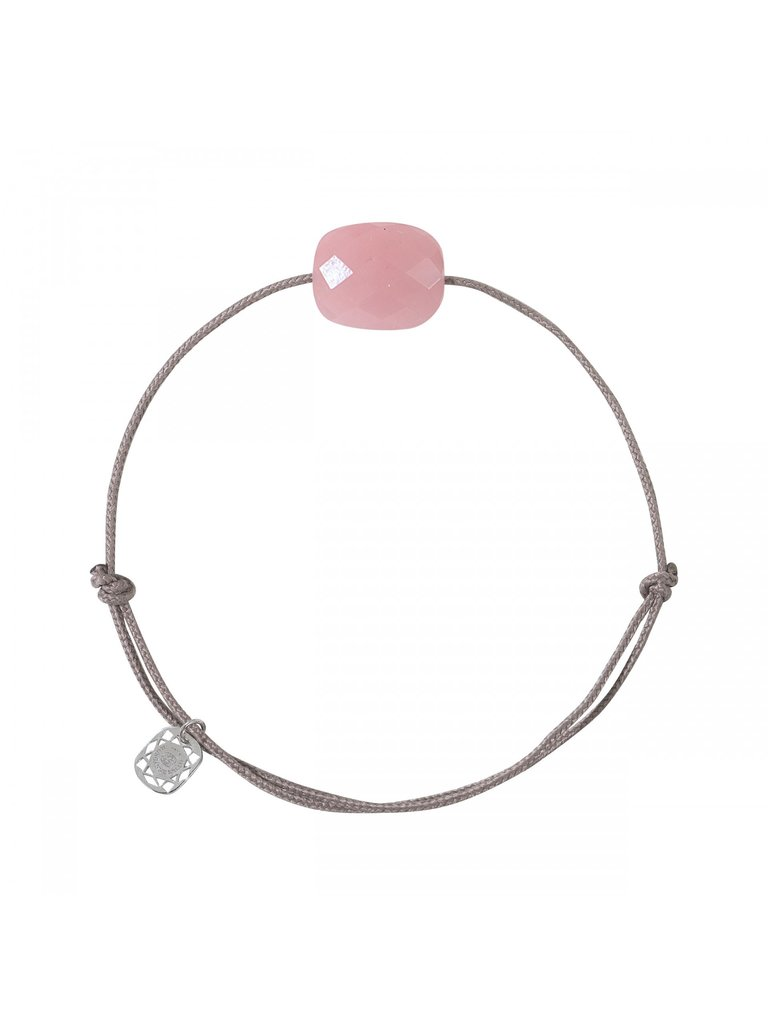 Morganne Bello Morganne Bello koord armband met guava steen taupe