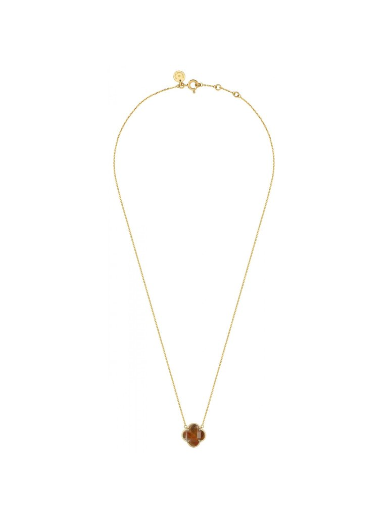 Morganne Bello Morganne Bello necklace with tiger eye clover stone yellow gold