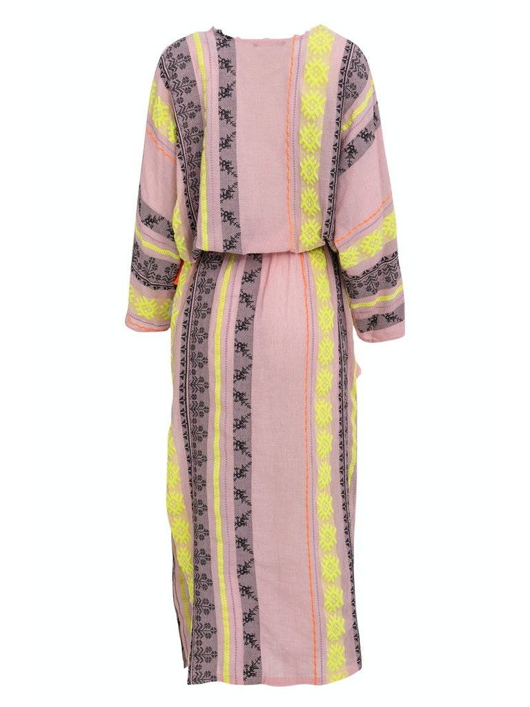 Devotion Devotion maxi Zakar Mariana dress with print pink yellow