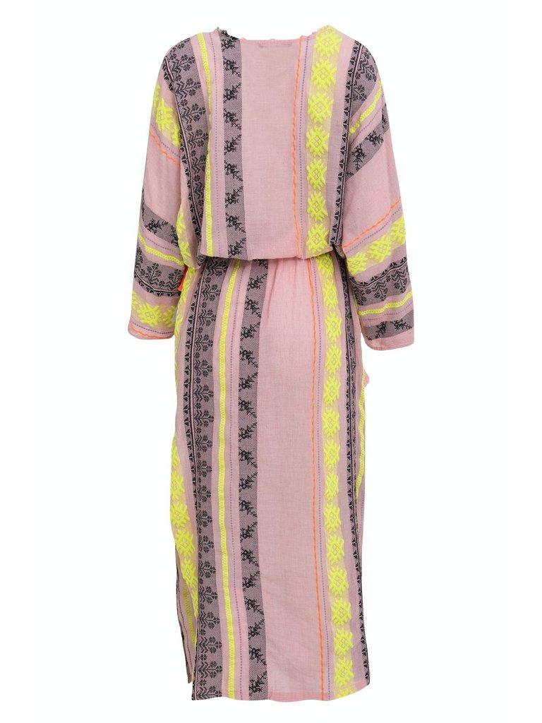 hingabe maxi zakar mariana kleid mit druck rosa gelb