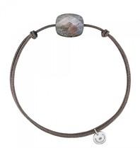Morganne Bello Morganne Bello cord bracelet labradorite stone taupe